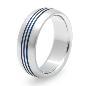 Triple Inlay Anodized Titanium Band