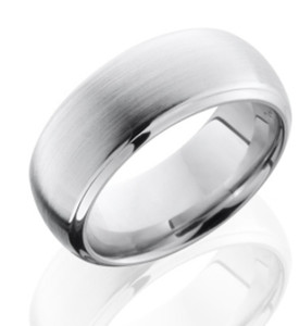 Men's Beveled Edge Dome Profile Cobalt Ring