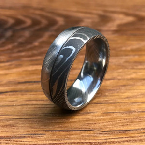 Men's Dual Finish Damascus Steel Ring with Center Groove