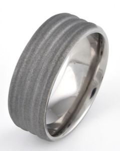 Men's Beveled Edge Grooved Titanium Sandblasted Ring