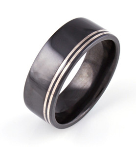 Men's Black Zirconium Grand Central Ring with Sterling Silver Inlays