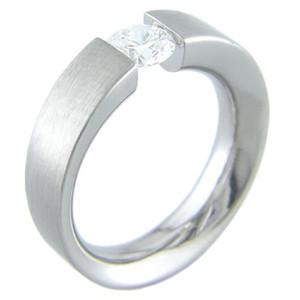 Ellipsoid Tension Set Titanium Ring