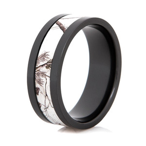 Men's Black Zirconium Realtree Snow Camo Ring