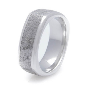 Men's Beveled Edge Square Cobalt Gibeon Meteorite Ring