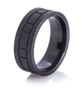 Box Pattern Black Matte Ring