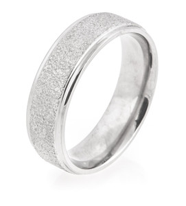 Flat Profile Arctic Titanium Ring with Grooved Edges