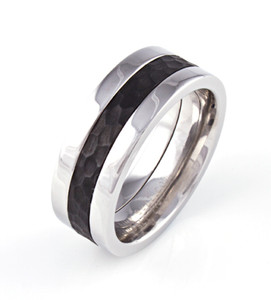 Men's Cobalt West Harlem Ring with Hammered Black Zirconium Inlay