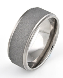 Men's Flat Profile Grooved Edge Titanium Sandblasted Ring