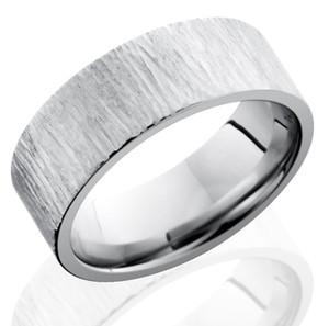 Men's Flat Profile Treebark Cobalt Ring