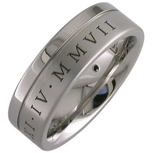 Flat Grooved Roman Numeral Ring