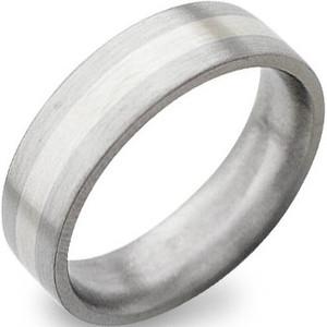 Flat Profile White Gold Titanium Ring