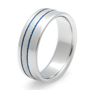Offset Grooved Blue Wedding Ring with Frost Finish