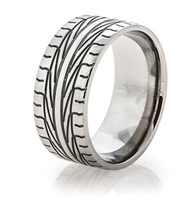 Men's Titanium Goodyear Assurance Tire Tread Ring