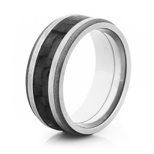 Grooved Edge Sandblasted Carbon Fiber Ring