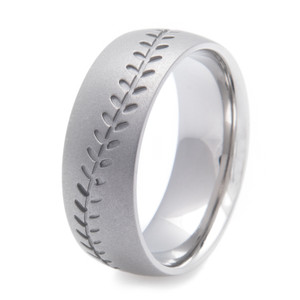 Men's Gunmetal Titanium Baseball Stitch Ring