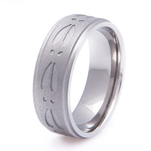 Gun Metal Titanium Deer Track Ring