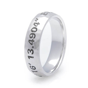 Men's Personalized Hammered Cobalt Coordinates Ring