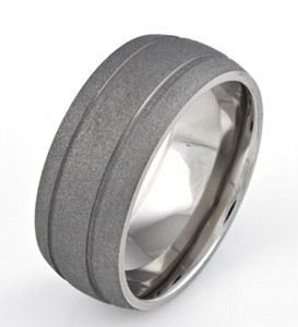 Men's Dome Profile Titanium Sandblasted Ring with Dual Grooves
