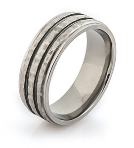 Hammered and Grooved Ring
