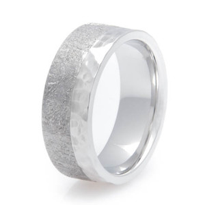 Men's Hammered Cobalt Split Gibeon Meteorite Ring