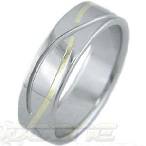 Gold Inlay Titanium Infinity Ring