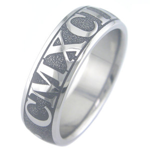 Laser Engraved Titanium Roman Numerals Ring