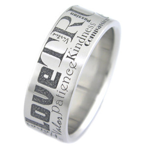 Titanium Laser Etched Loving Words Ring