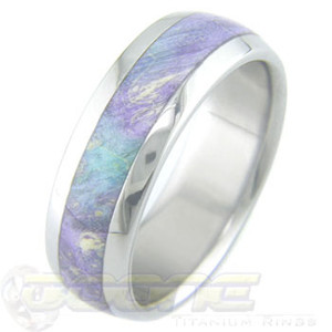 Men's Titanium and Box Elder Burl Wood Ring with Lavender and Teal