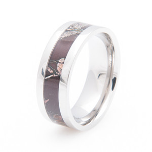 Women's Titanium Realtree AP Maroon Camo Wedding Ring