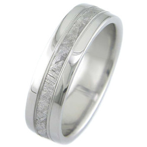 Men's Titanium Accent Gibeon Meteorite Ring