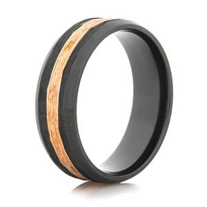 Men's Rose Gold and Black Zirconium Ring