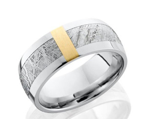 Men's Titanium Gibeon Meteorite Ring with Yellow Gold Accent