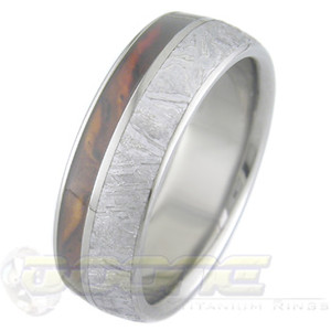 Men's Titanium Gibeon Meteorite Ring with Offset Hardwood Inlay