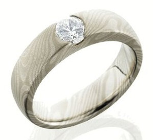 Women's White Gold and Sterling Silver Mokume Ring with Center Stone