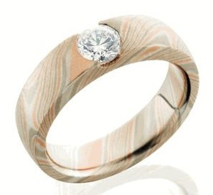 Women's Diamond Cathedral-Style Mokume Gane Wedding Band