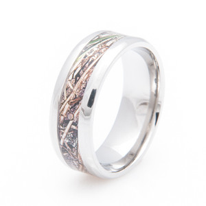 Men's Titanium Mossy Oak Duck Blind Camo Wedding Ring