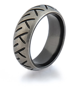 Men's Black-Etched Zirconium Motorcycle Ring