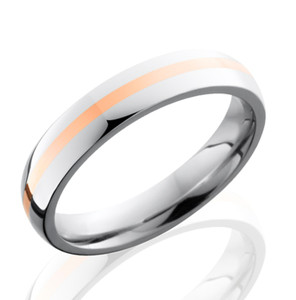 Unisex Narrow Cobalt Wedding Band with Rose Gold Inlay