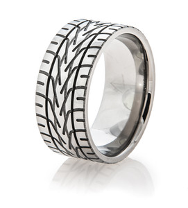 Men's Titanium NASCAR Rain Tire Tread Ring