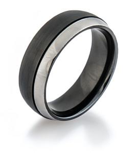 Two Tone Zirconium Offset Ring
