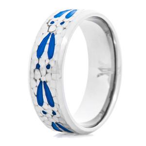 Men's Titanium Hammered Deer Tracks Ring with Blue