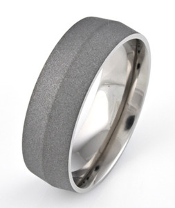 Men's Titanium Sandblasted Ring with Peaked Center