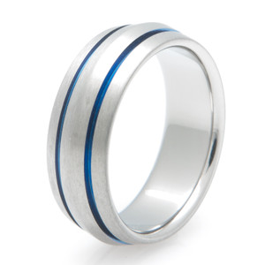 Peaked Titanium with Inlaid Blue Ring