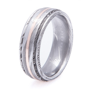 Men's Flat Grooved Edge Damascus Steel Ring with 14K Gold Inlay