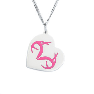Realtree Heart Pink Pendant Necklace