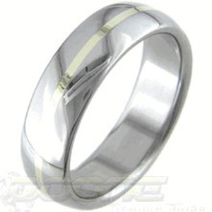 Polished Titanium Ring with Gold Inlay