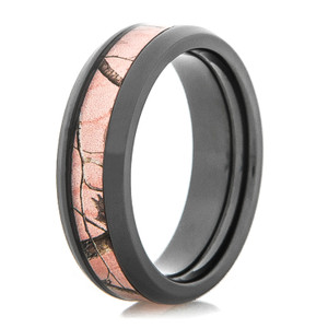 Women's Black Zirconium Realtree AP Pink Camo Ring
