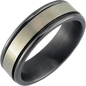 Flat Profile Zirconium Ring with Edge Rails