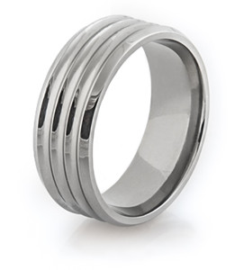 Ribbed Titanium Ring