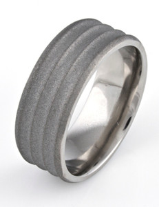Men's Beveled Edge Ribbed Titanium Sandblasted Ring